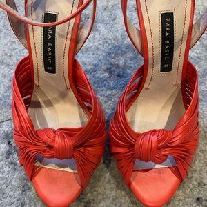 Zara leather orange open toe heel